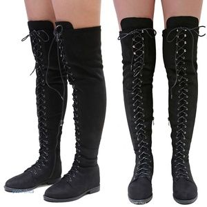 New Black Over the Knee Suede Lace Up Combat Boots